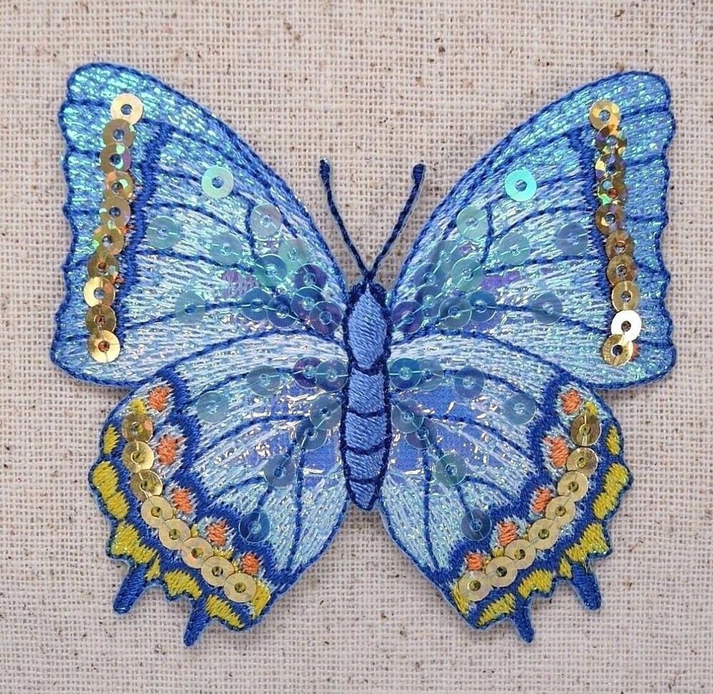 Iron On Patch Embroidered Applique Large Sequin Blue And Yellow Butterfly | EBay