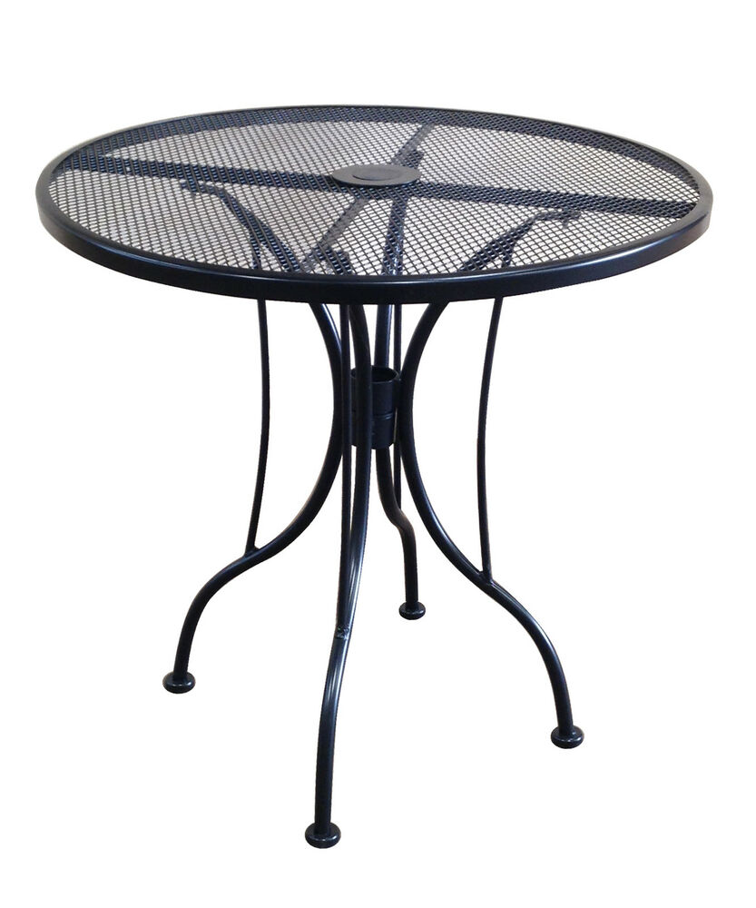 30 inch round black mesh wrought iron metal table outdoor for Metal patio table