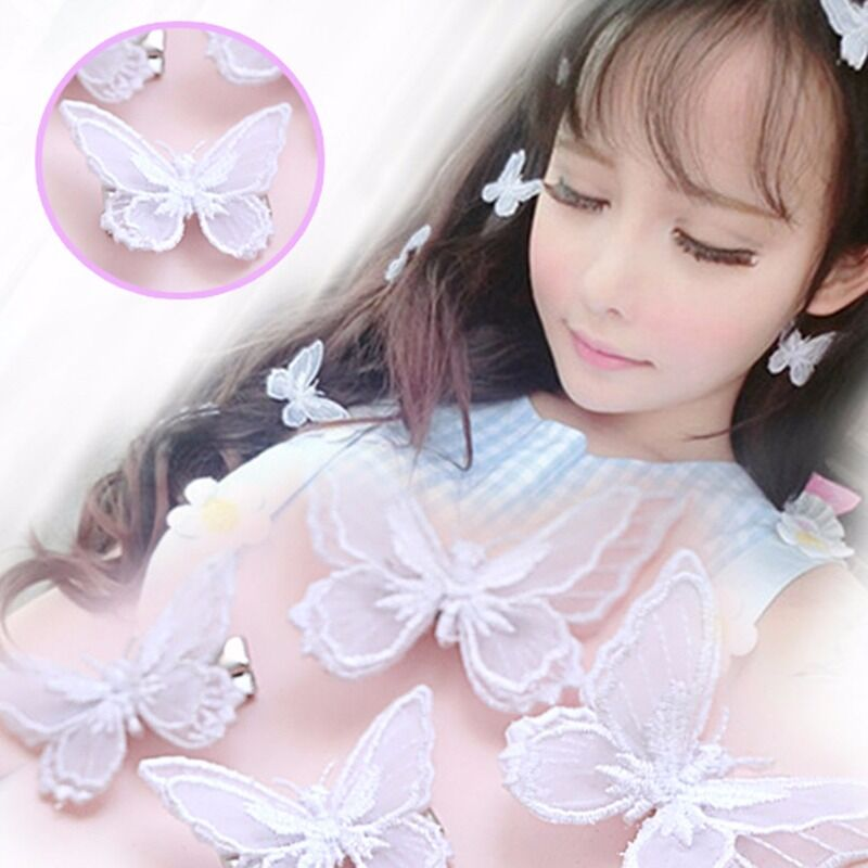 Lolita Girls Lace Butterfly Alligator Hair Clip Kawaii