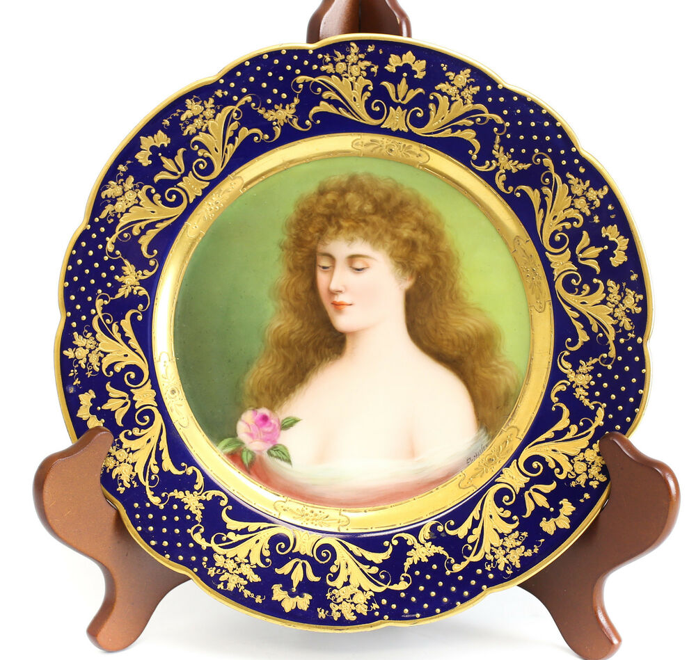 Royal vienna porcelain portrait cabinet plate signed title for Hand painted portraits from photos