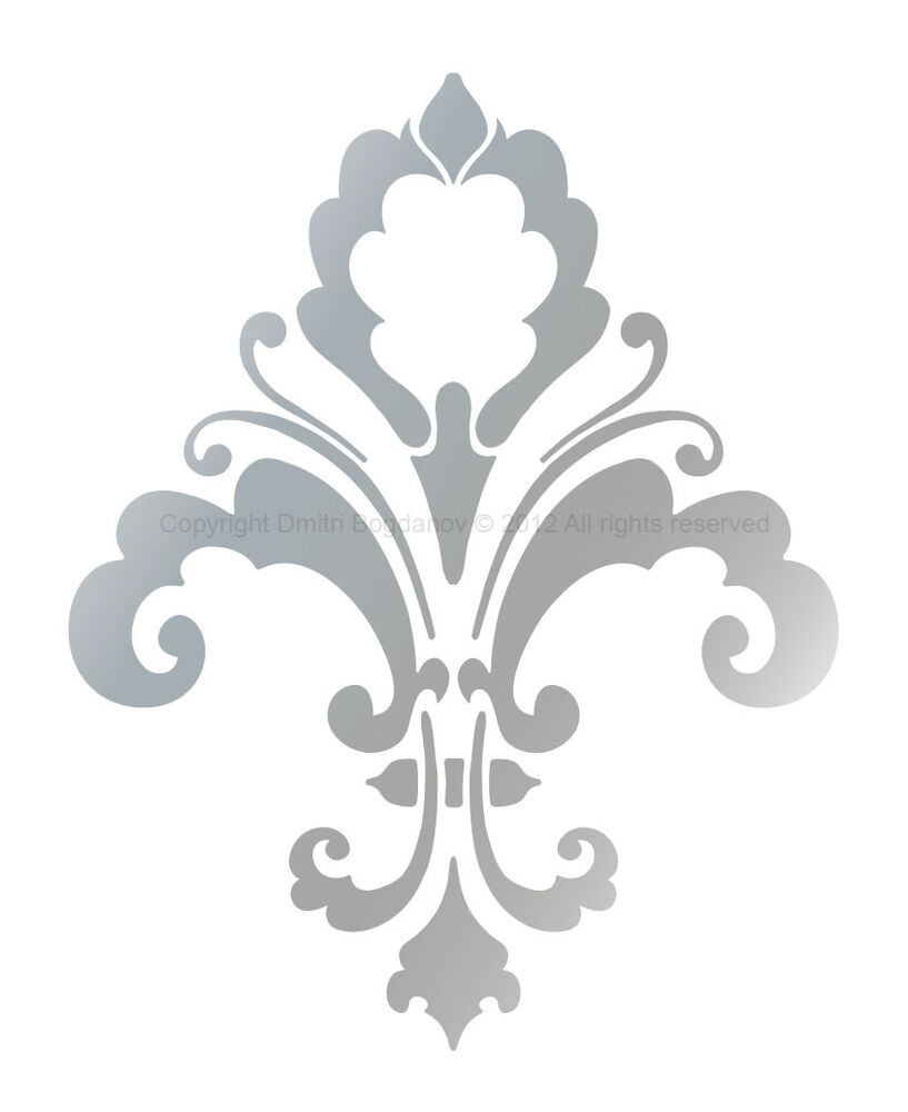Fleur de lis designer decorative wall stencil chic decor for Advanced molding and decoration s a de c v