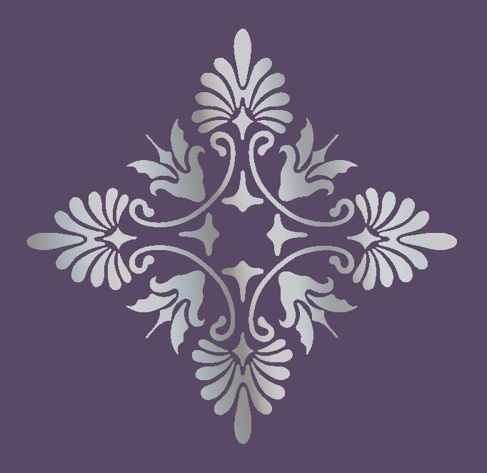 Large wall damask stencil pattern faux mural decor 1017 for Stencil wall art