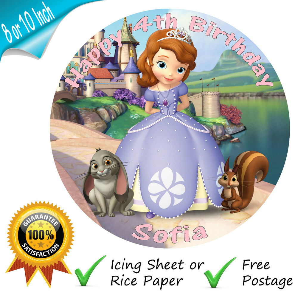 PRINCESS SOFIA THE FIRST EDIBLE ROUND PRINTED CAKE TOPPER ...