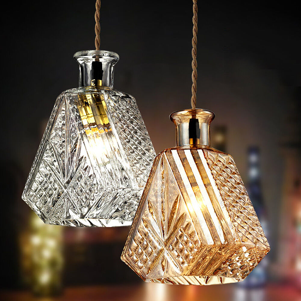 Hanging Lamp Light: Bottle Decanter Glass Ceiling Hanging Lamp Light Pendant