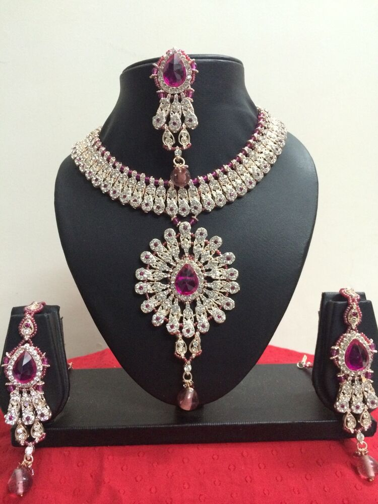 Designer Bridal Jewelry Gold Plated Indian Fashion Party Wear Jewelry Set Ebay