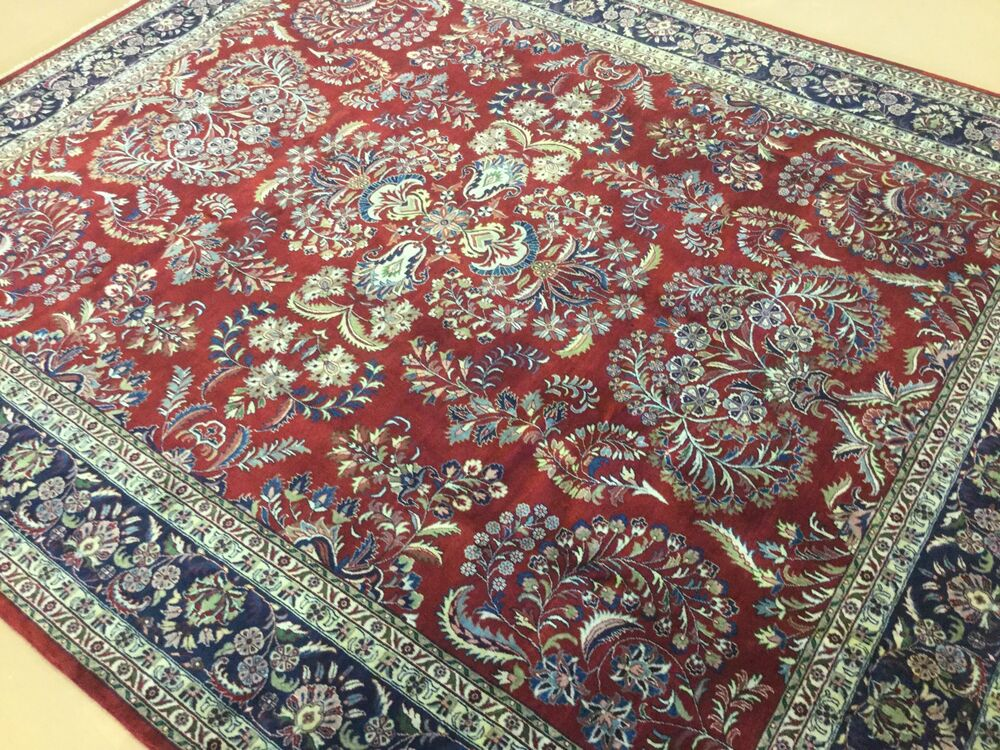 8 x 10 red navy blue sarouk persian oriental area rug hand for Red and navy rug