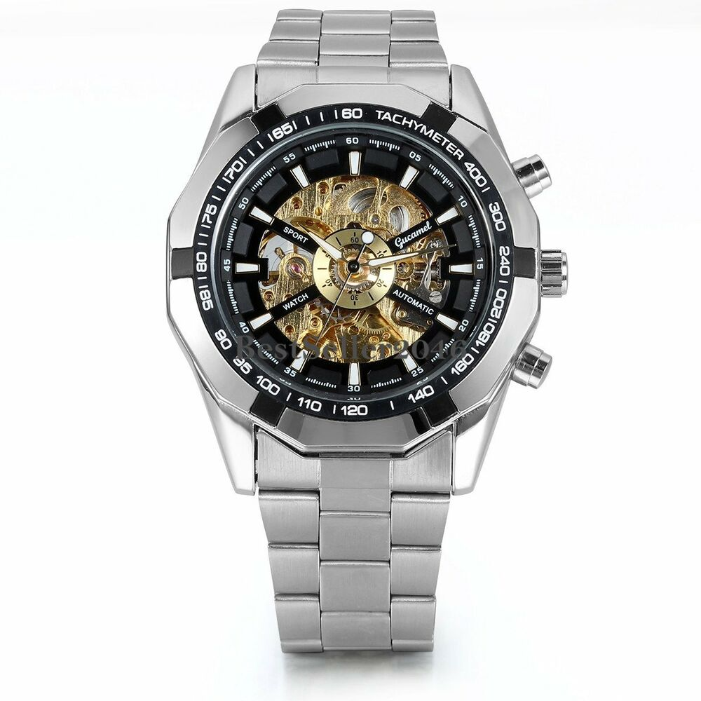 Skeleton dial automatic mechanical watch men 39 s stainless steel wrist watch ebay for Metal watches