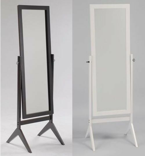 Swivel full length wood cheval floor mirror espresso for Black framed floor length mirror