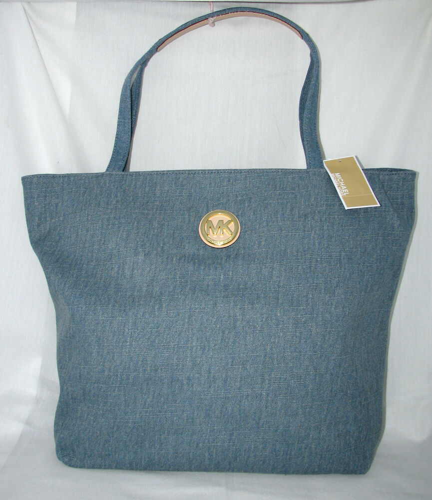 new michael kors light denim blue top zip large tote back to school. Black Bedroom Furniture Sets. Home Design Ideas