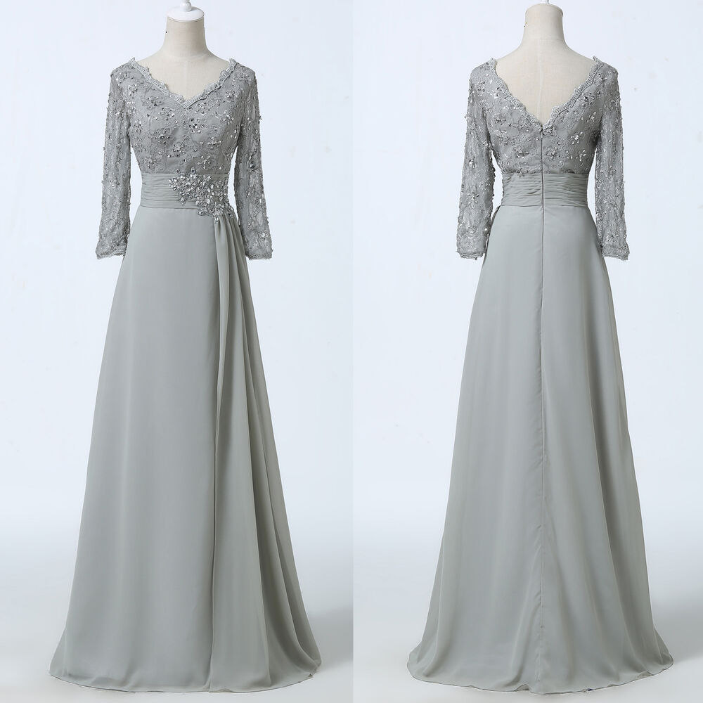 Gk mother of the bride groom evening ball gown formal for Gray dresses for a wedding