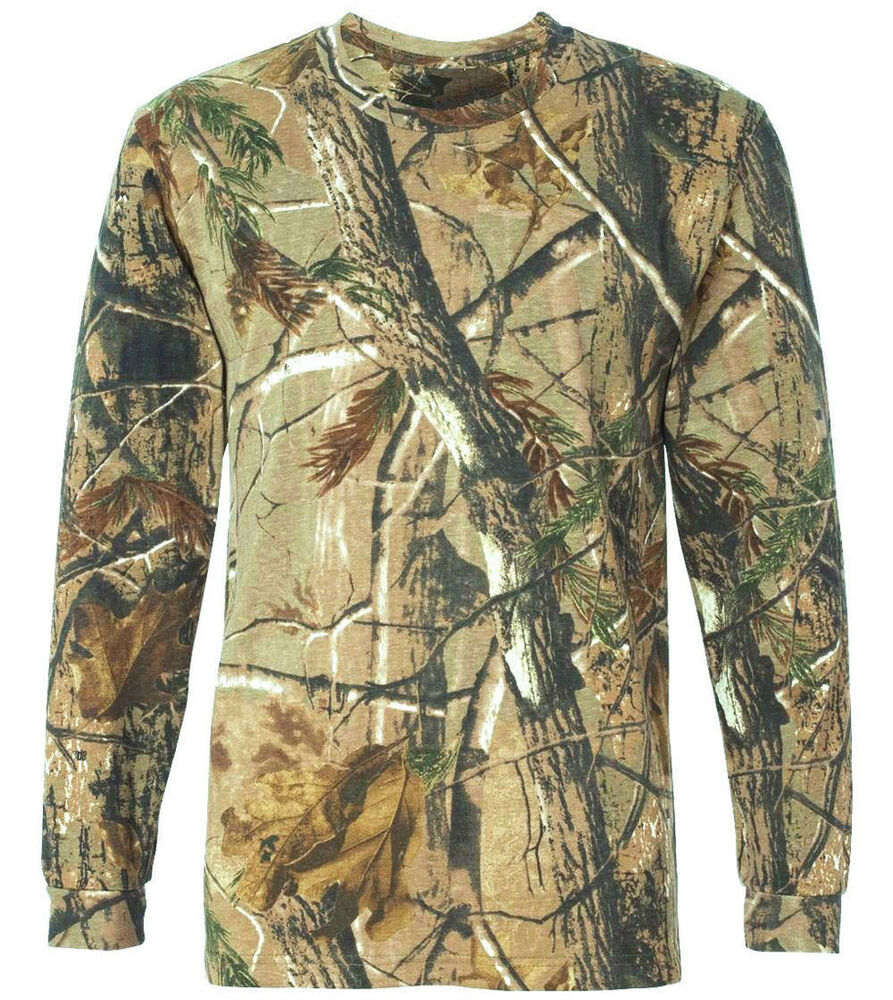 hunters long sleeve t shirt mens all sizes oak tree camo tee cotton. Black Bedroom Furniture Sets. Home Design Ideas