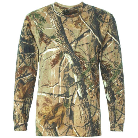img-HUNTERS LONG SLEEVE T-SHIRT Mens all sizes Oak tree camo tee cotton hunting top