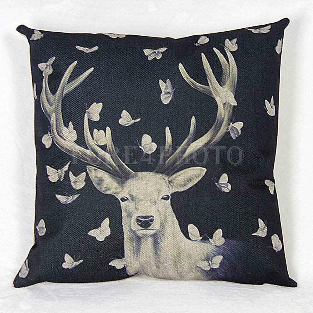 Fly butterfly deer pattern bed sofa decorative throw for Decorative bed pillow case