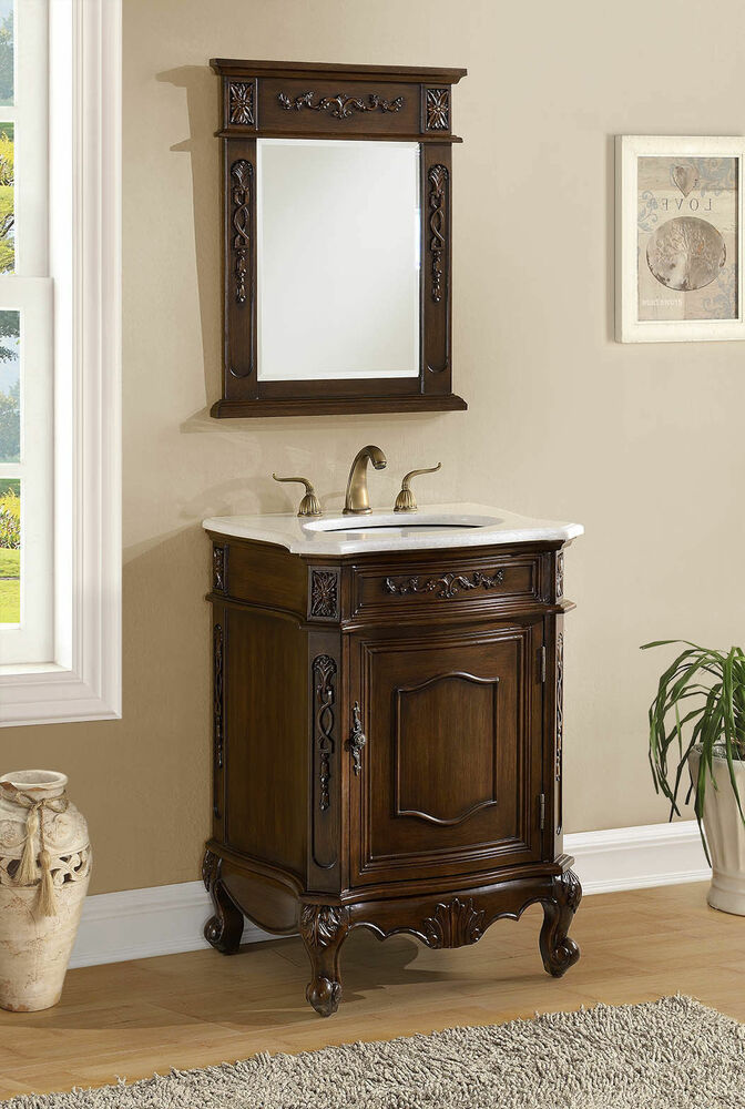 24 Antique Debellis Bathroom Sink Vanity W White Marble Top Mirror Bwv 047w Ebay