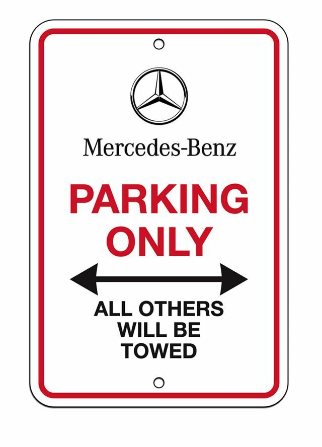 New genuine mercedes parking only sign 12 x 8 oem benz for Mercedes benz sign in