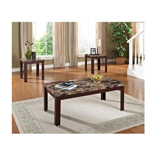 Elegant Cherry 3 Piece Coffee And End Table Set Living