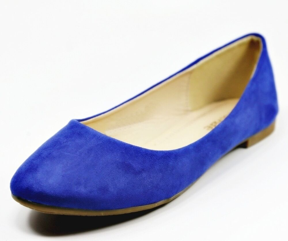 Royal Blue Satin Flat Shoes