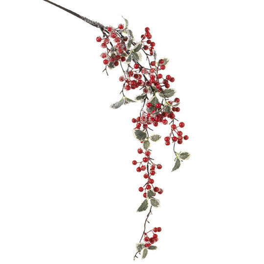 "Christmas Berry Tree Hawaii: RAZ Imports~14"" Iced Holly/Berry Spray~Floral Pick/Branch"