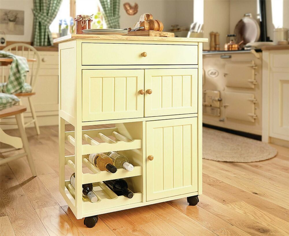 buttermilk wood kitchen trolley cart island furniture drawer storage