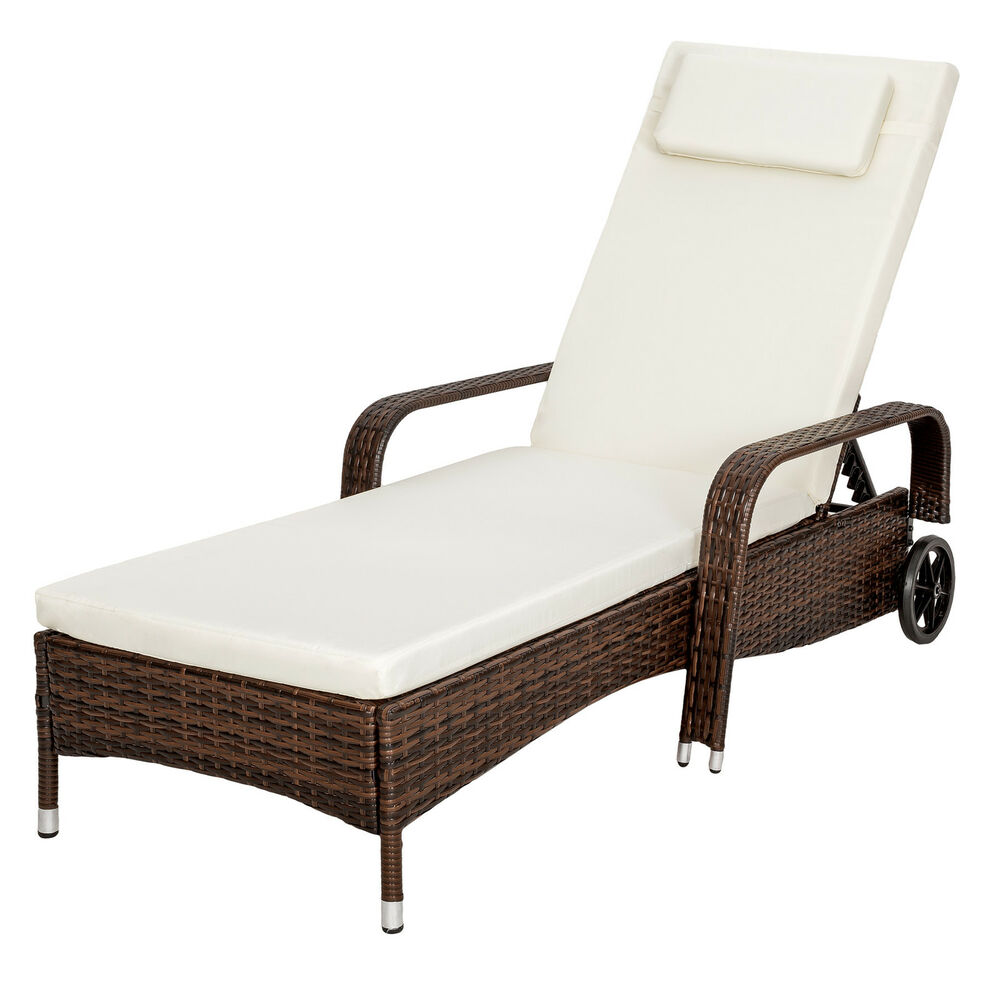 Rattan day bed sun canopy lounger recliner garden patio terrace furniture brown ebay - Chaise de jardin solide ...