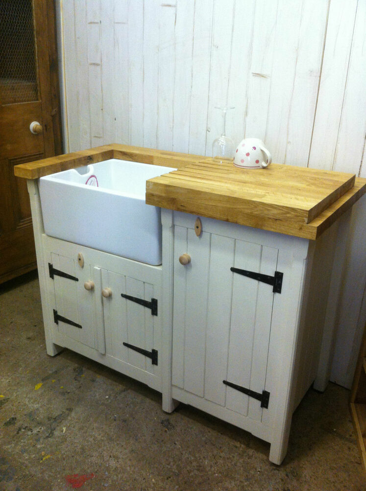 Pine Freestanding Kitchen Utility Room Belfast Butler Sink Unit Oak Worktop
