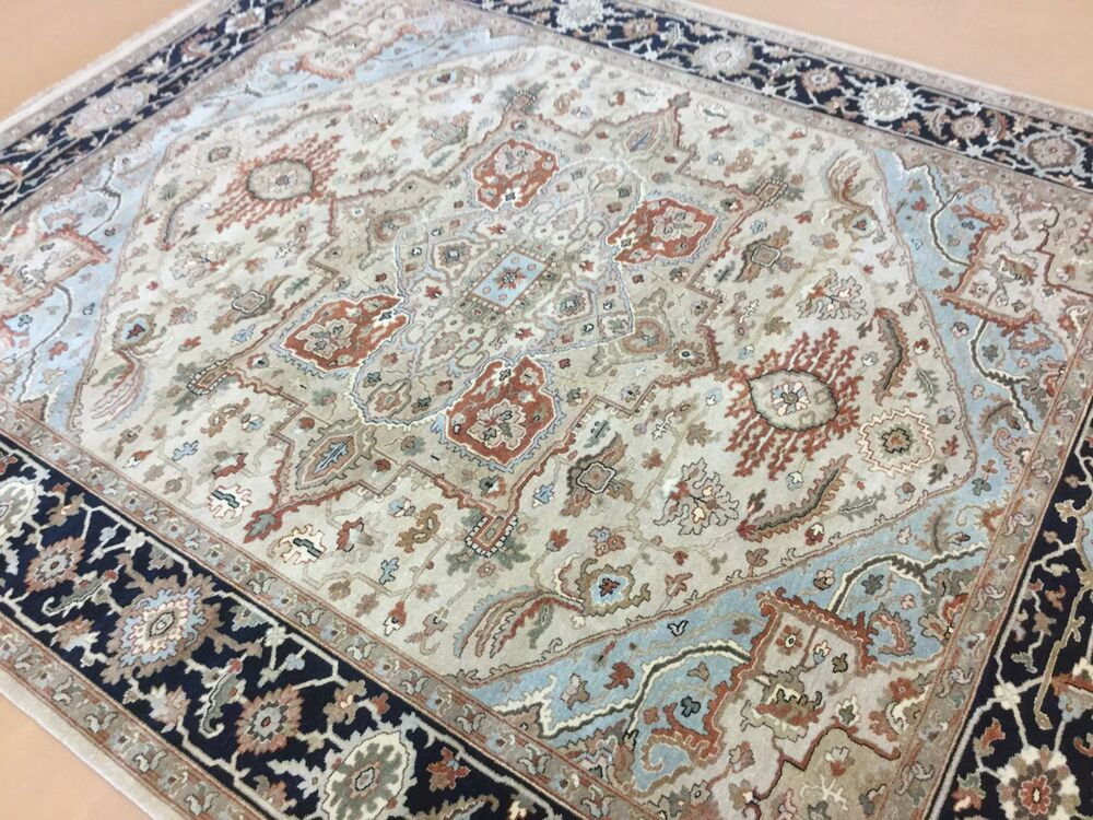 8 X 10 Brown Navy Blue Serapi Persian Oriental Area Rug
