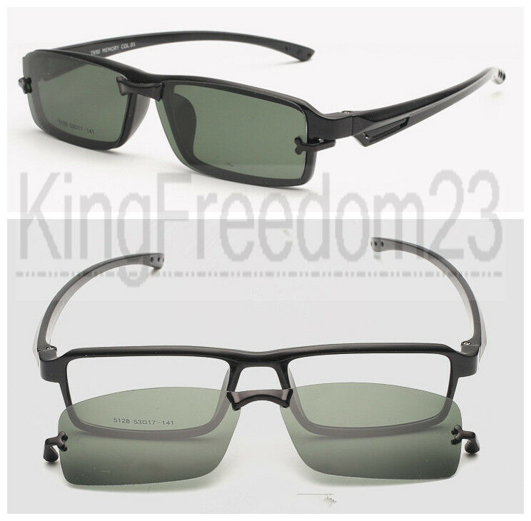 Magnetic Clip on Eyeglasses Frames Black Eyeglass Driving ...
