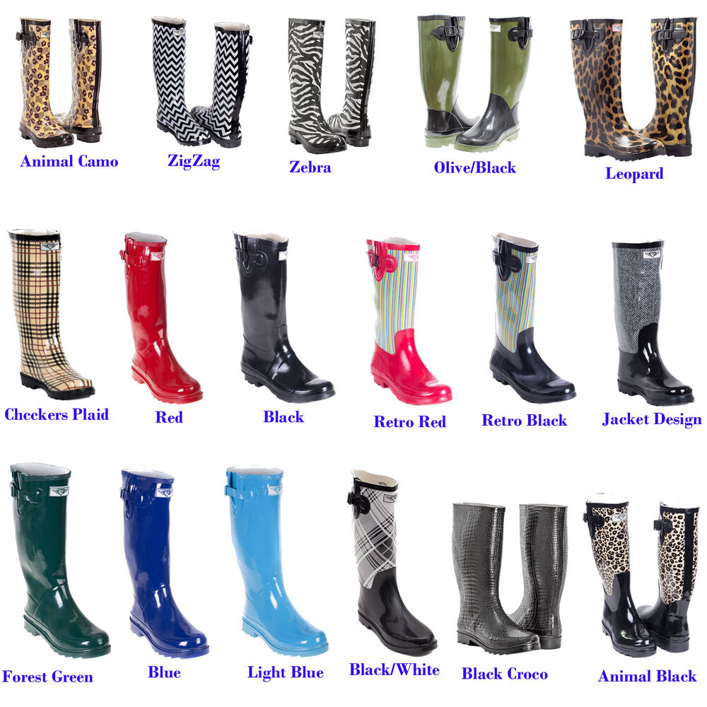Forever 21 Gift Cards >> Women Flat Rubber Rain Boots Mid Calf Waterproof Solid & Multi Colors | eBay