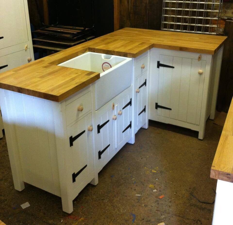 Solid Pine Freestanding Country Kitchen Belfast Butler Sink Corner Unit Oak T