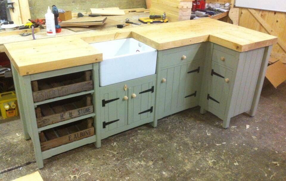 Pine Freestanding Kitchen Belfast Butler Sink Corner Unit Rustic French Grey