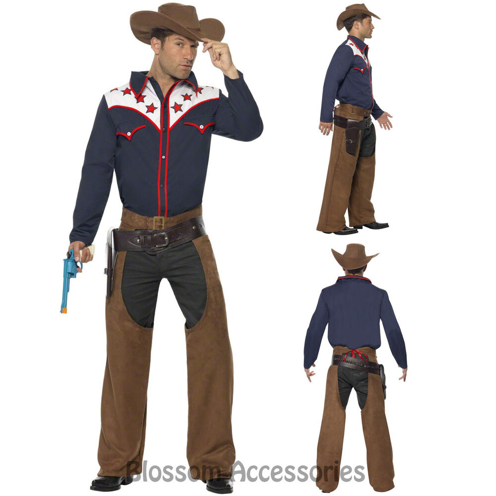CL436 Rodeo Cowboy Western Wild West Shirt Hat Chaps Fancy Dress Up Mens Costume | EBay