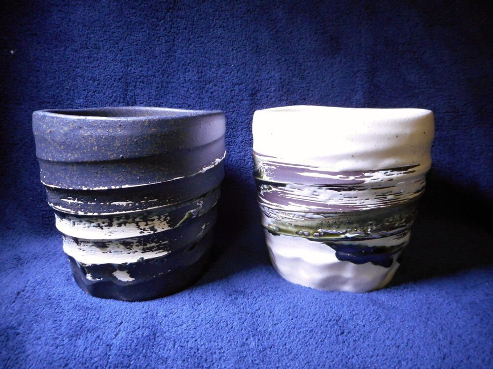 Brush Winding Painted Japanese Mug Cup Mino Yaki Pottery