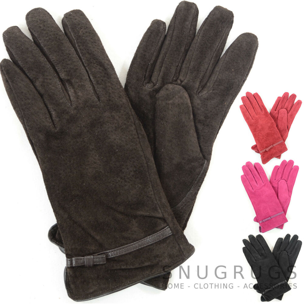 a2de256cc Details about Ladies / Womens Suede Gloves with Fleece Lining and Bow Design