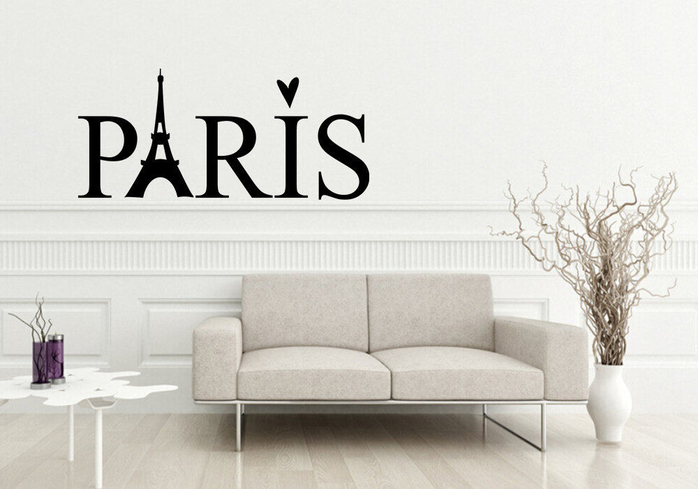 paris love heart decor wall art decal quote words lettering diy sticker ebay. Black Bedroom Furniture Sets. Home Design Ideas