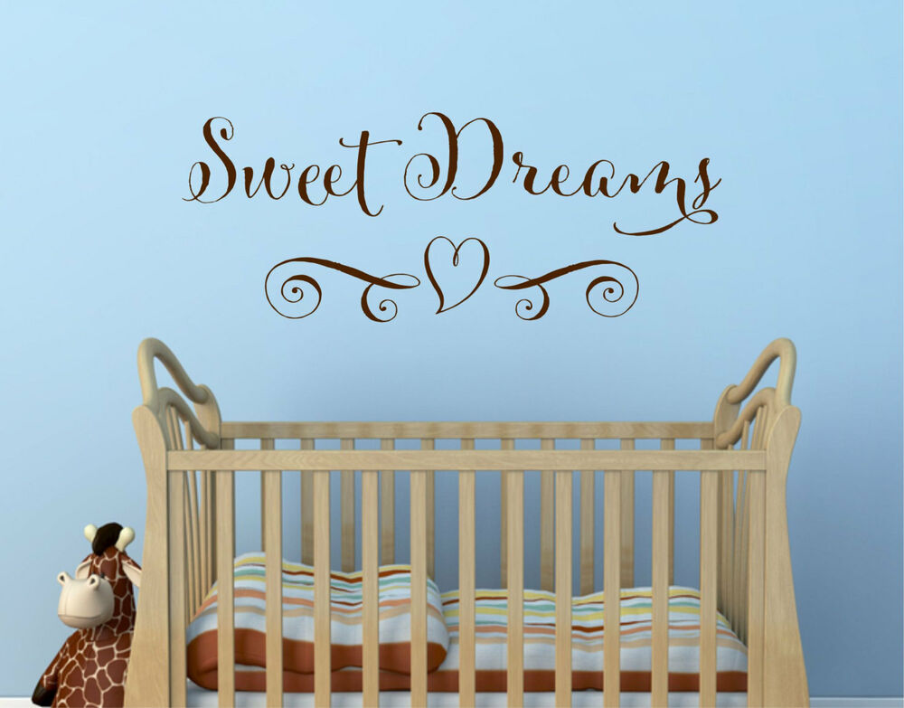 Sweet Dreams Heart Girls Decor Wall Art Decal Quote Words