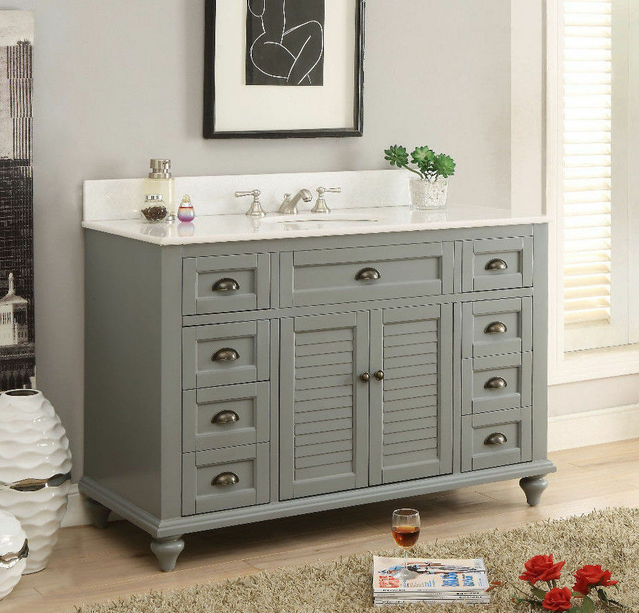 49 benton collectiion cottage style grey glennville for Grey bathroom cupboard