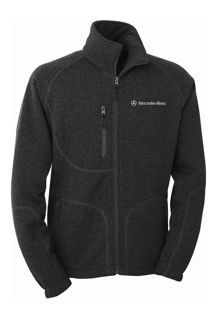 Mercedes benz men 39 s sweater knit fleece jacket ebay for Mercedes benz jacket