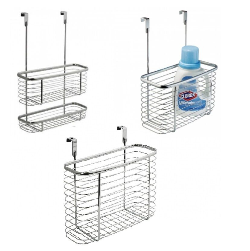 Chrome Basket Caddy Hook Over Door Hanging Storage Shower ...