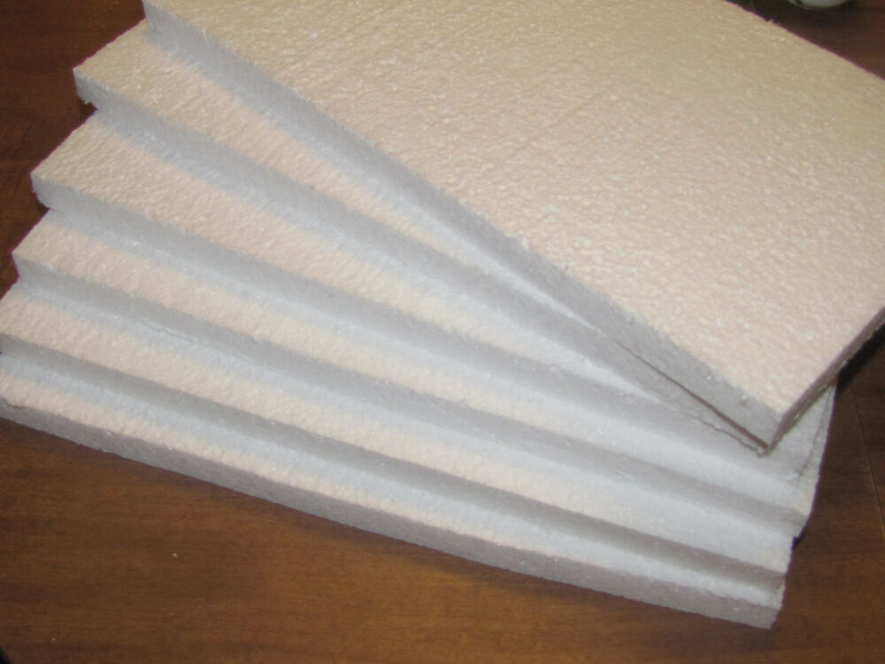 Expanded Polystyrene Styro Foam Boards 6 Sheets Ship Box
