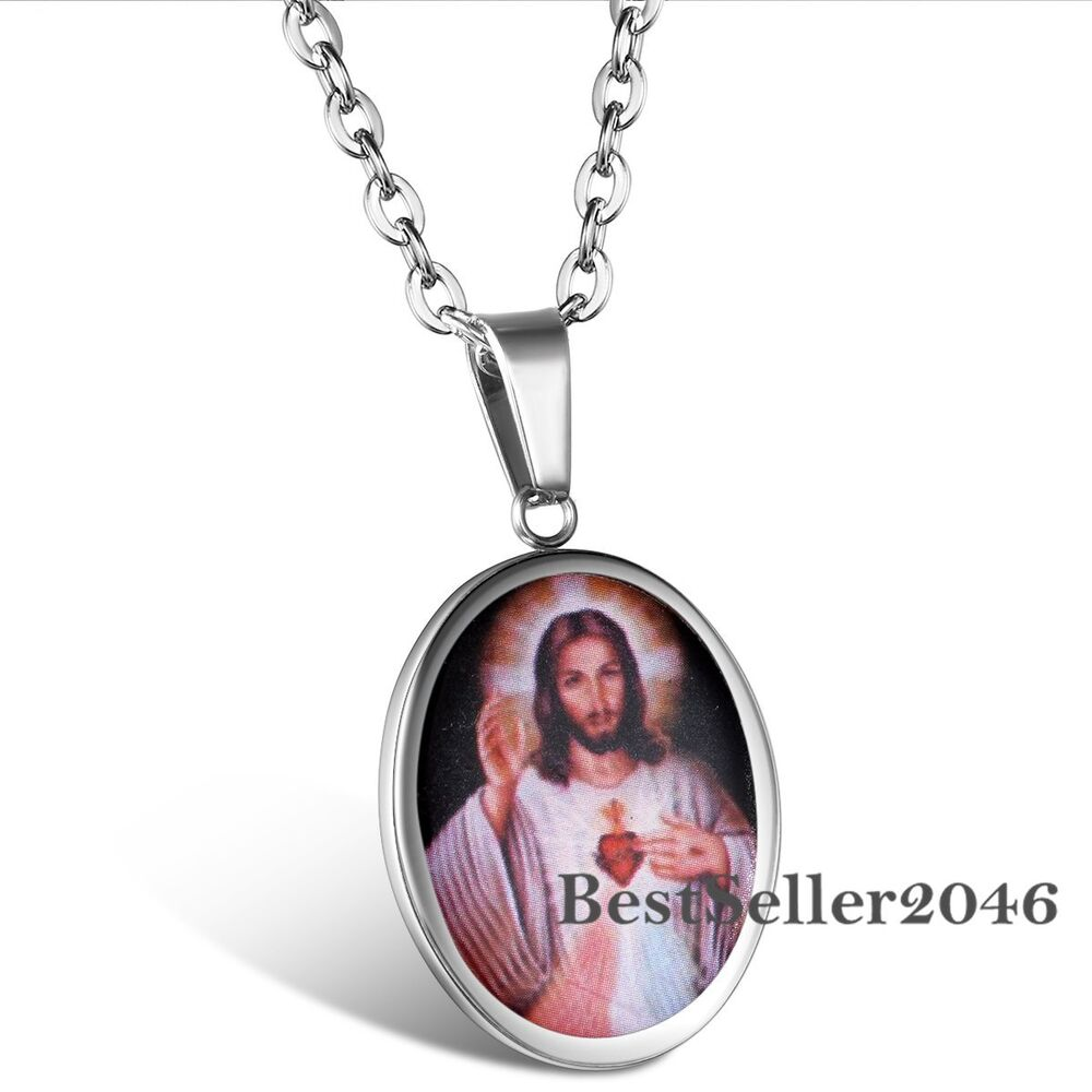 Sacred Heart of Jesus Christ Charm Oval Medal Stainless ...