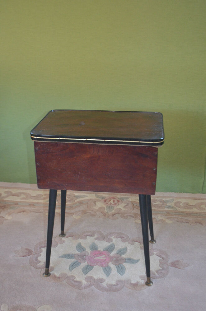 Vintage wooden sewing needlework knitting basket box table for Table knitting
