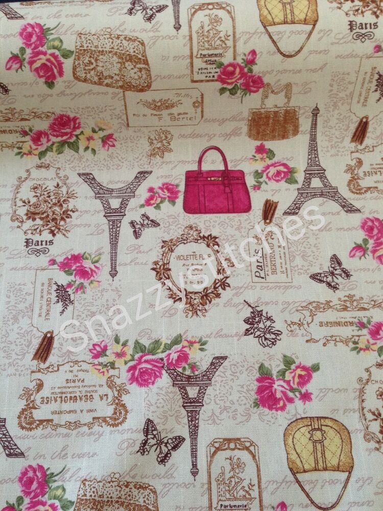 vintage style cotton canvas fabric paris french script bags flowers per mt ebay. Black Bedroom Furniture Sets. Home Design Ideas