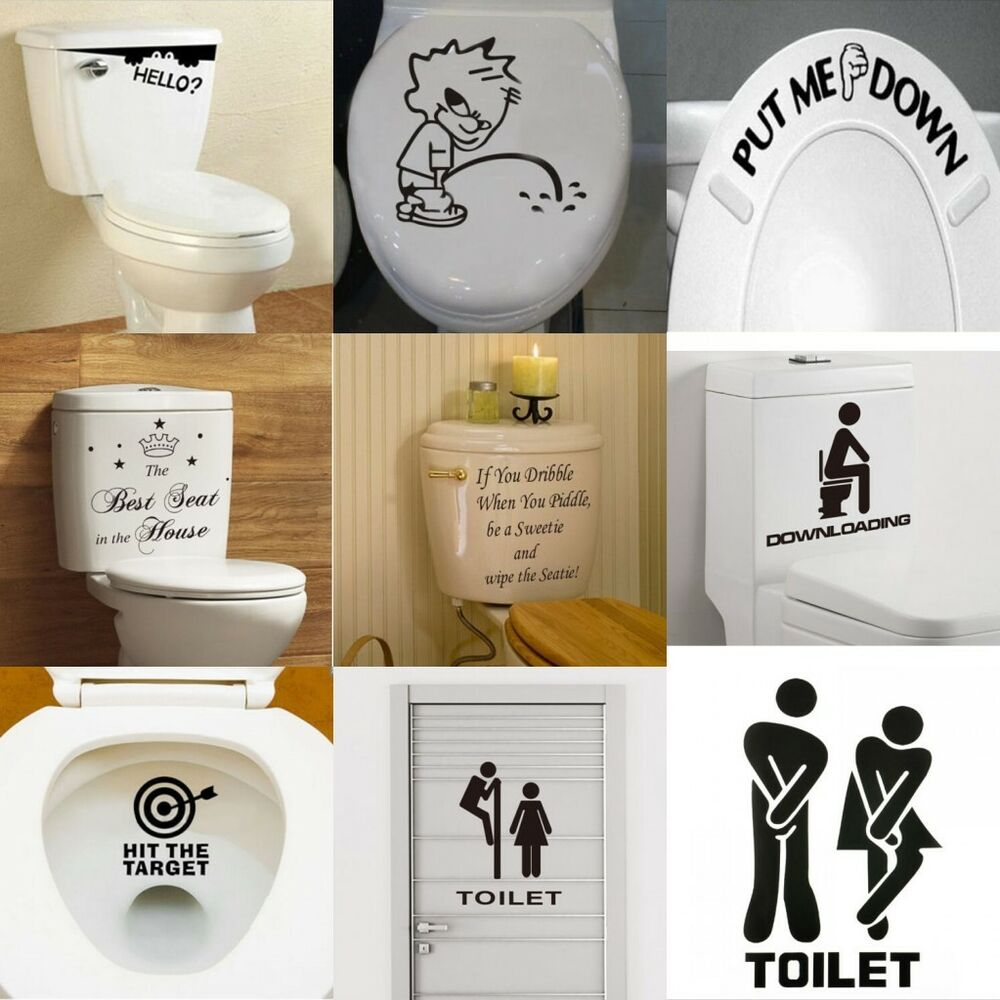 Diy toilet seat wall sticker decals vinyl art removable for Bathroom wall decor ideas diy