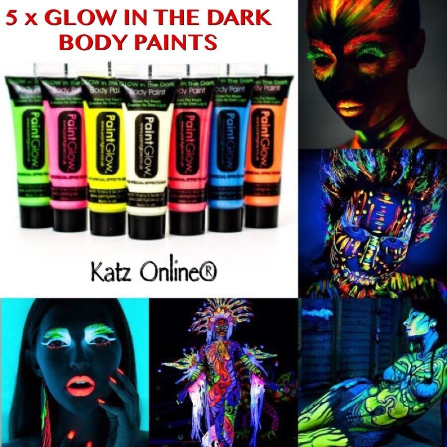 5 X Glow In The Dark Neon Face & Body Paint 10ml SET