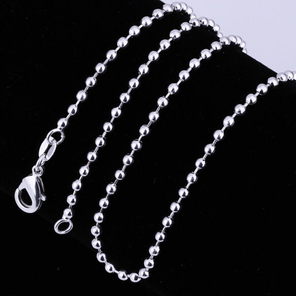 2PCS 925Sterling Silver Solid Silver Ball Bead Chain Necklace 2MM 16