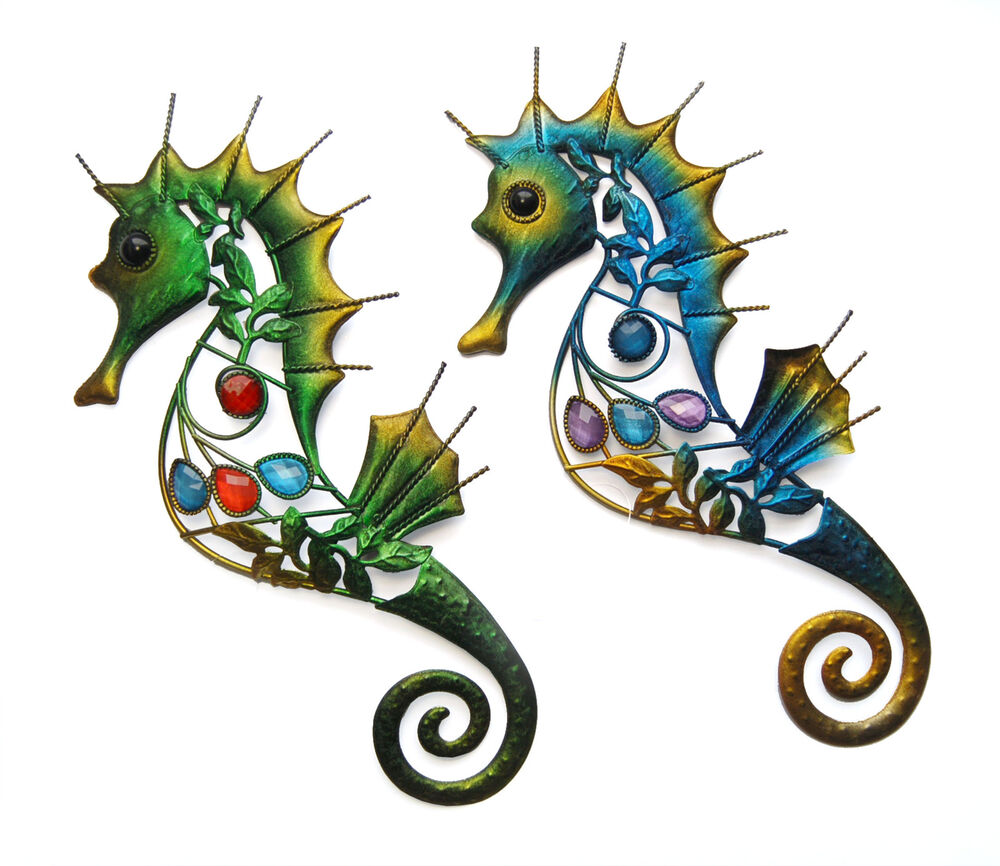 decorative metal wall art 39 cm seahorse ebay. Black Bedroom Furniture Sets. Home Design Ideas