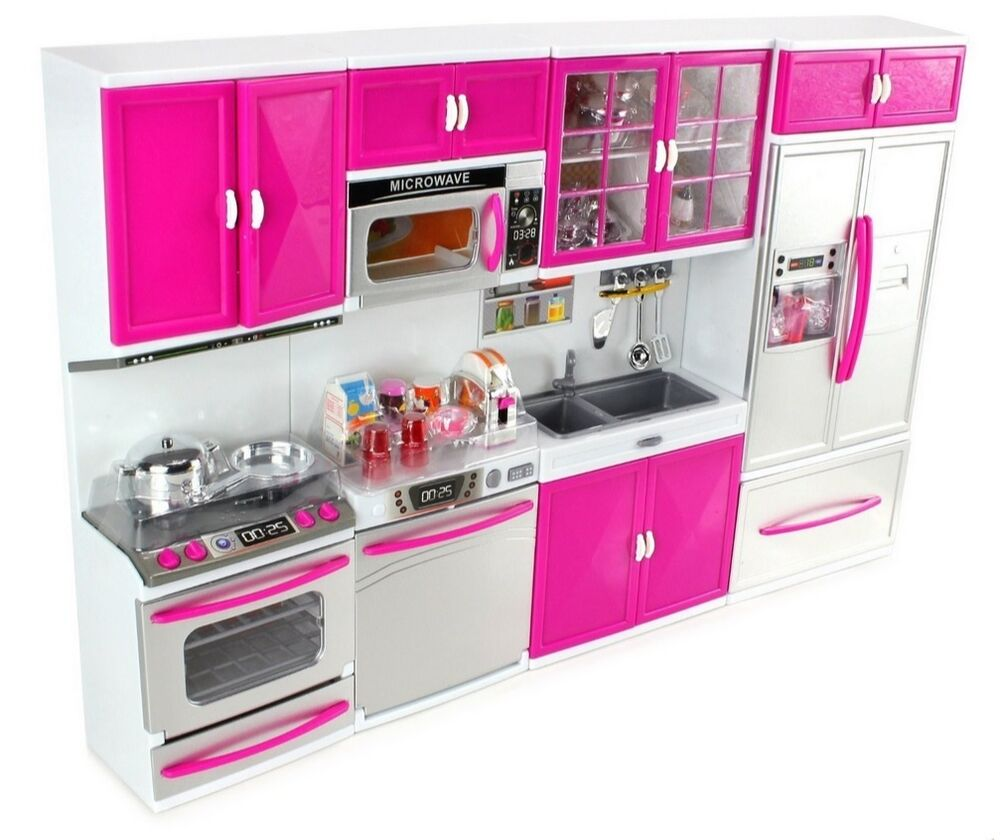 Modern Kitchen Microwave: Modern Kitchen Playset Battery Operated Refrigerator Stove