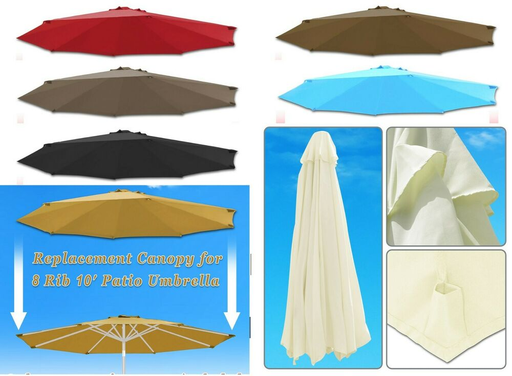 10ft 8 rib patio umbrella cover canopy replacement top outdoor ebay. Black Bedroom Furniture Sets. Home Design Ideas