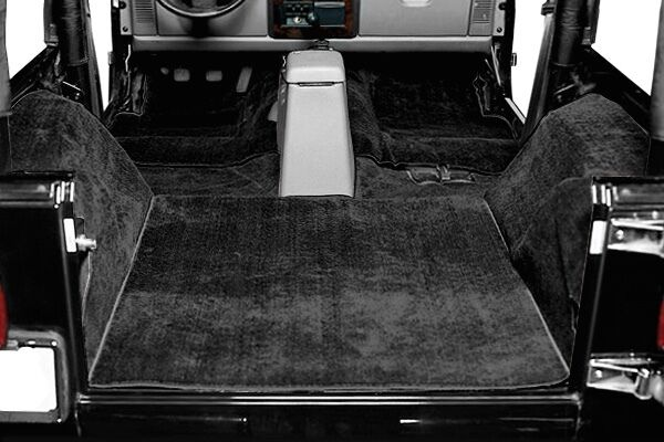1987 1995 jeep wrangler yj 5 piece cut out carpet kit black ebay. Black Bedroom Furniture Sets. Home Design Ideas