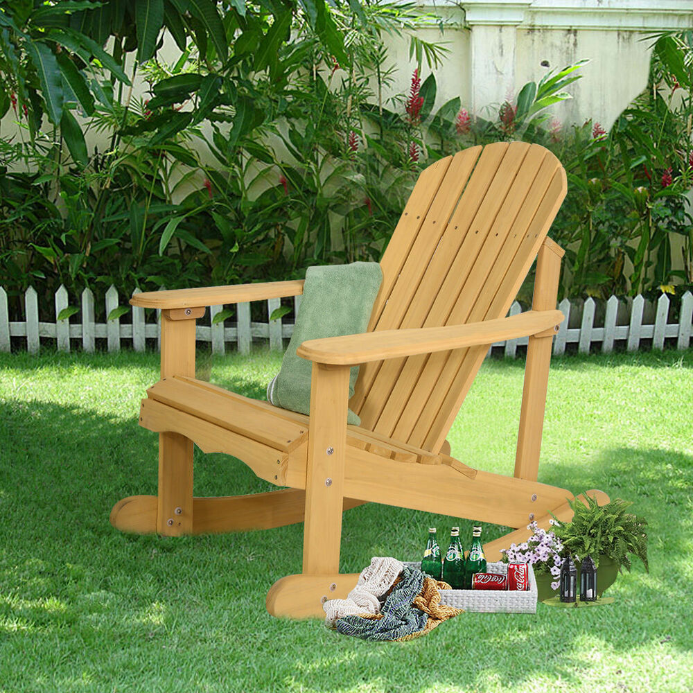 Outdoor Patio Furniture For Small Deck: Outdoor Natural Fir Wood Adirondack Rocking Chair Patio